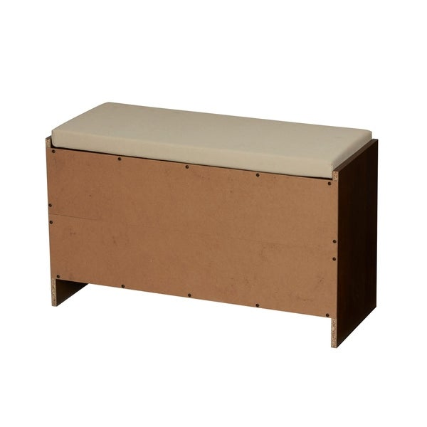 Household Essentials 10 Pocket Shoe Storage Bench, Honey Maple In Mahoganey    Free Shipping Today   Overstock.com   23762487