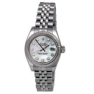 Pre-owned 26mm Rolex Stainless Datejust Watch. Mother of Pearl Diamond Dial Style 179174
