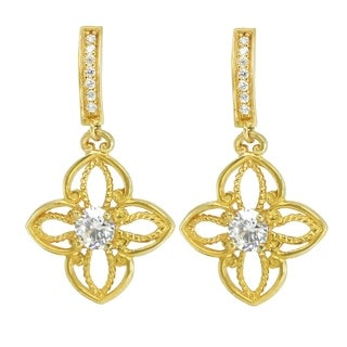 Michael Valitutti 10K Yellow Gold Round Cubic Zirconia Dangling Earrings