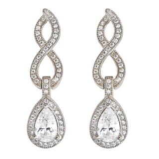 Michael Valitutti Sterling Silver Pearshaped & Round Cubic Zirconia Figure 8 Earrings - White