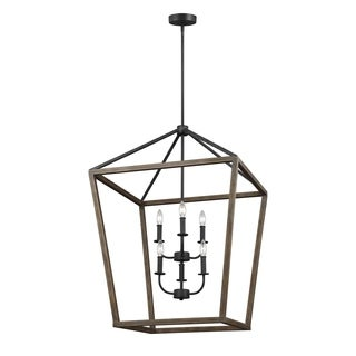 Feiss Gannet 6 Light Weathered Oak Wood / Antique Forged Iron Chandelier