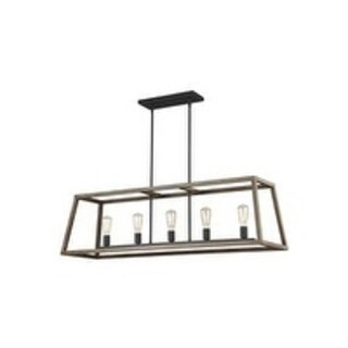 Feiss Gannet 5 Light Weathered Oak Wood / Antique Forged Iron Chandelier