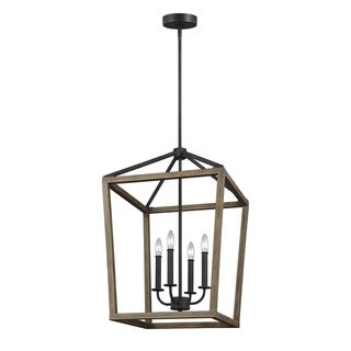 Feiss Gannet 4 Light Weathered Oak Wood / Antique Forged Iron Chandelier