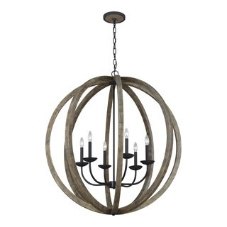 Feiss Allier 6 Light Weathered Oak Wood / Antique Forged Iron Chandelier