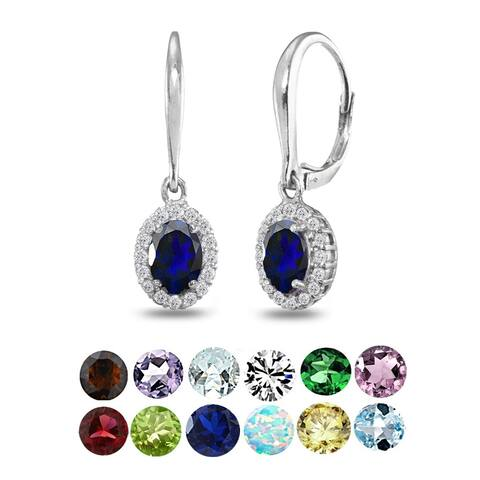 Glitzy Rocks Sterling Silver Created Blue Sapphire & White Topaz Dainty Oval Dangle Halo Leverback Earrings