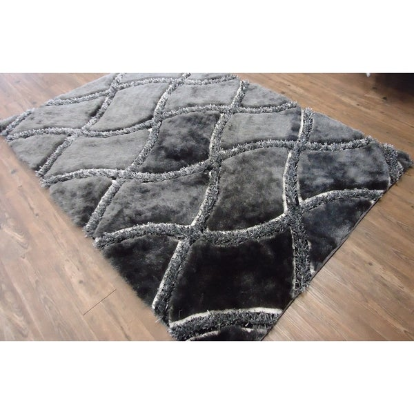 Rug Addiction Gray Two Inch Pile Thickness Hand Tufted Silky Shag Area Rug - 5' x 7'