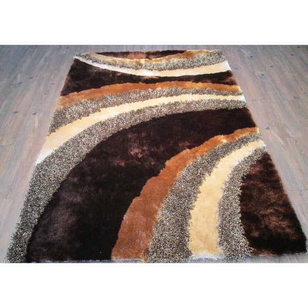 Rug Addiction Brown Beige with a little Black Two Inch Pile Thickness Hand Tufted Silky Shag Area Rug - 5' x 7'