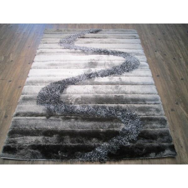 Shop Rug Addiction Silver Grey Black Two Inch Pile