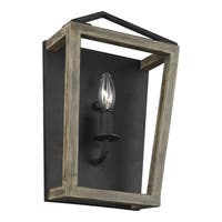 Feiss Gannet 1 - Light Wall Sconce, Weathered Oak Wood / Antique Forged Iron