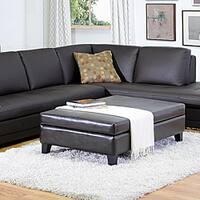 By-cast Leather Flip-top Storage Bench/ Ottoman