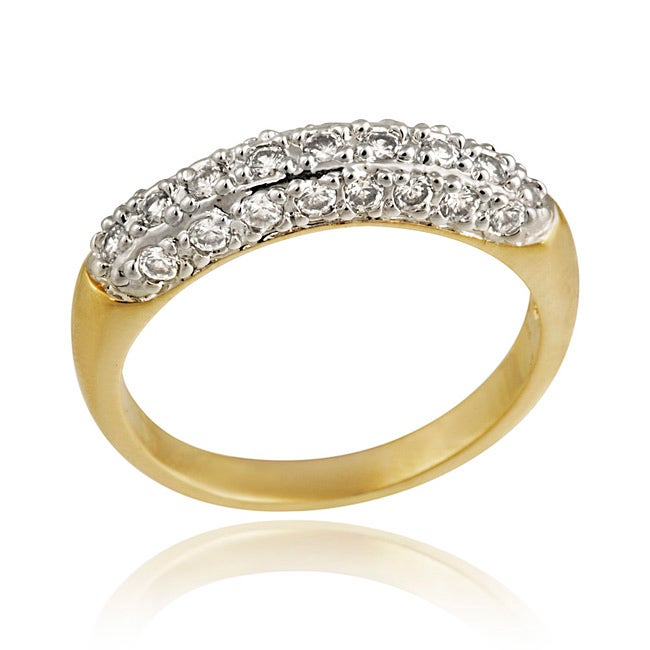 Icz Stonez Gold over Silver CZ Ring