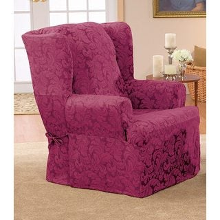 Scroll Burgundy Wing Chair Slipcover