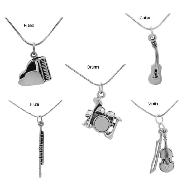Sterling Silver Musical Instrument Pendant Necklace