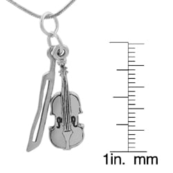 Sterling Silver Musical Instrument Pendant Necklace - Thumbnail 2