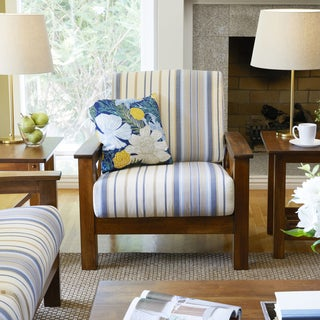 Handy Living Virginia Blue Stripe X Design Arm Chair with Exposed Wood Frame