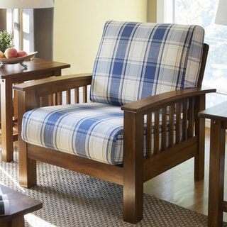 Handy Living Omaha Blue Plaid Mission Style Arm Chair with Exposed Wood Frame