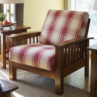 Handy Living Omaha Red Plaid Mission Style Arm Chair with Exposed Wood Frame