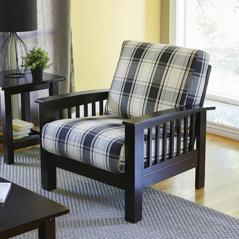 The Gray Barn Mercy Brown/ Black Plaid Mission-style Arm Chair with Exposed Wood Frame