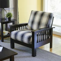 Handy Living Omaha Brown/Black Plaid Mission Style Arm Chair with Exposed Wood Frame
