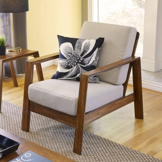 Handy Living Columbus Mid Century Modern Barley Tan Linen Arm Chair with Exposed Wood Frame