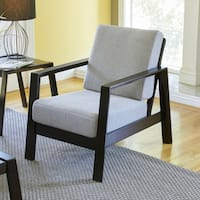 Handy Living Columbus Mid Century Modern Dove Grey Linen Arm Chair with Exposed Wood Frame