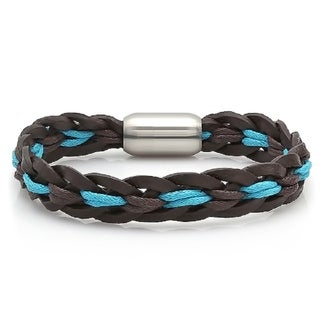 Steeltime Men's Genuine Black Leather Bracelet with Blue Rope Accent