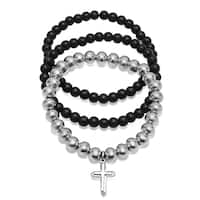 Steeltime Men's Set of 3 Stainless Steel and Black Lava Bracelets with Cross Accent in 2 Colors