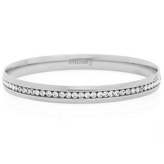 Piatella Ladies Stainless Steel Eternity Bangles in 3 Colors (Option: White)|https://ak1.ostkcdn.com/images/products/17568146/P23780679.jpg?impolicy=medium