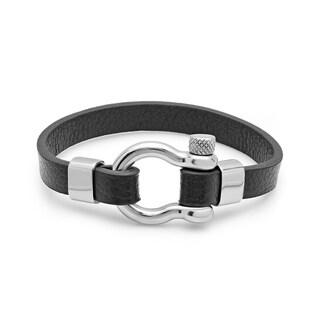 Steeltime Men's Black Leather Bracelet with Buckle Accent