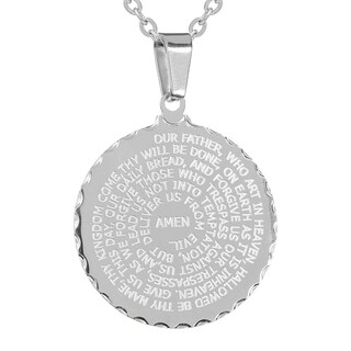 Piatella Ladies Stainless Steel English Prayer Pendant in 3 Colors