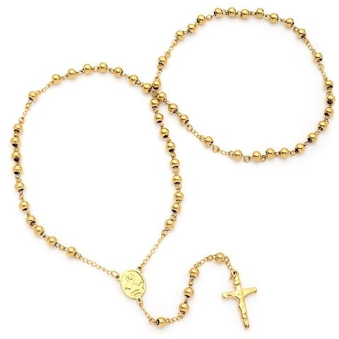 Piatella Ladies Gold Tone Rosary Necklace