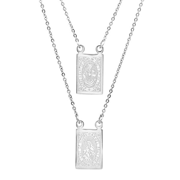 Piatella Ladies Stainless Steel Scapular Necklace in 2 Colors. Opens flyout.