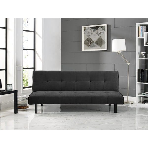 Serta Xavier Black Microfiber Convertible Sofa By Lifestyle Solutions