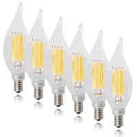 Maxxima Dimmable Flame Tip Filament Candelabra LED Light Bulb Warm White 550 Lumens (6 Pack)