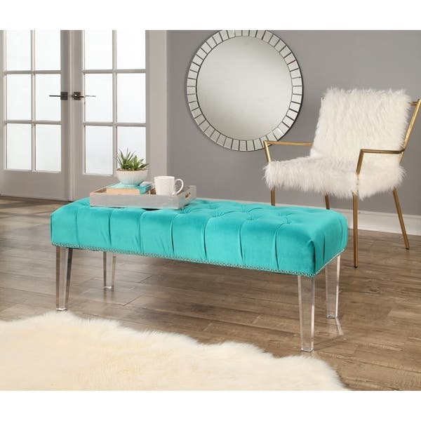 Pleasant Shop Abbyson Cecile Velvet Tufted Bench On Sale Free Ocoug Best Dining Table And Chair Ideas Images Ocougorg