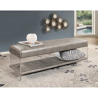 Abbyson Beatrice Silver Embossed Leather and Acrylic Bench