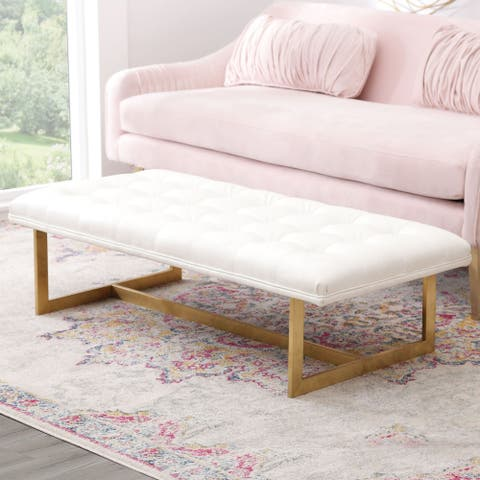 Abbyson Lucy Tufted White Rectangle Leather Bench
