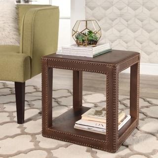 Abbyson Sherbrooke Brown Leather Cube Ottoman