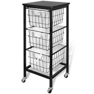 3 Drawer Wire Storage Cart - Espresso Top