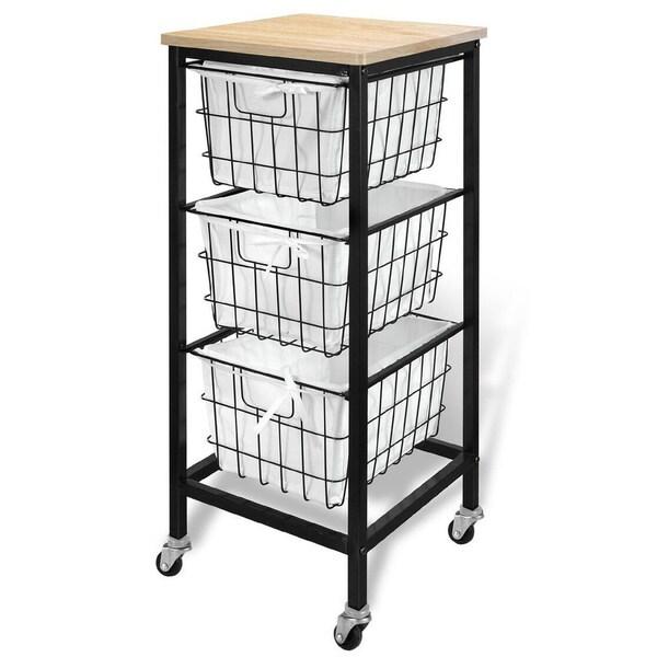 3 Drawer Wire Storage Cart - Natural Top