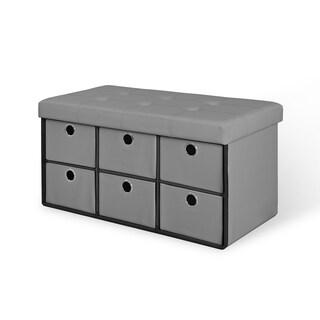 6 Drawer Bench - Grey