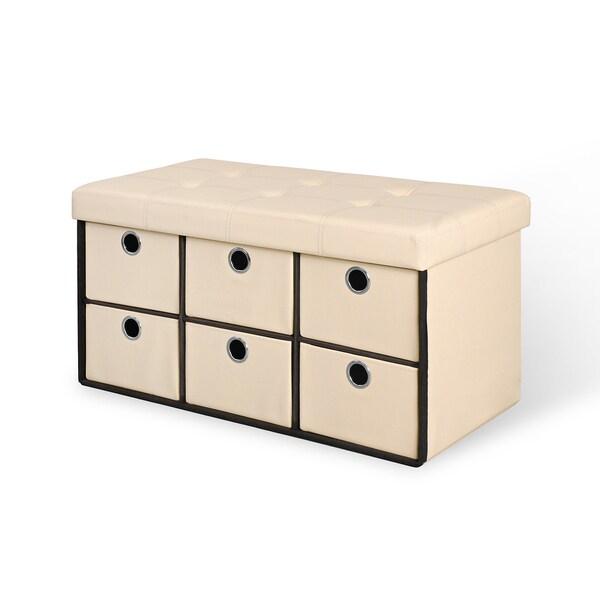 6 Drawer Bench - Taupe
