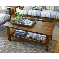Handy Living Baltimore Cherry Wood Coffee Table with Slatted Shelf