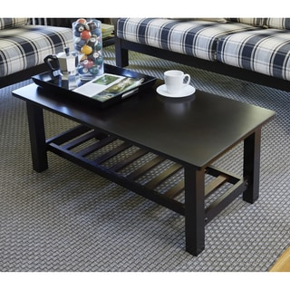 Handy Living Baltimore Espresso Brown Wood Coffee Table with Slatted Shelf