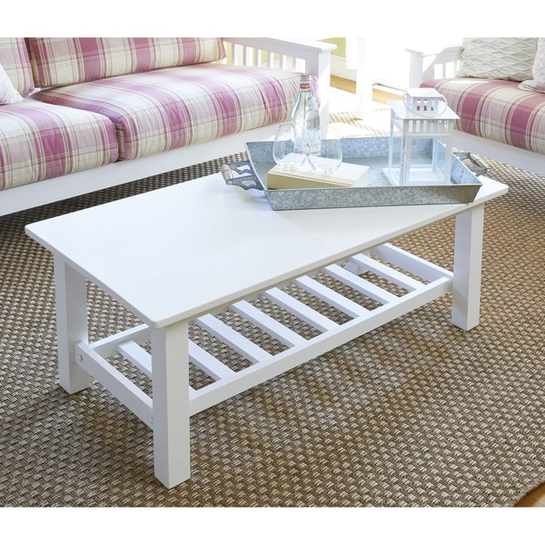 Handy Living Baltimore White Wood Coffee Table With Slatted Shelf