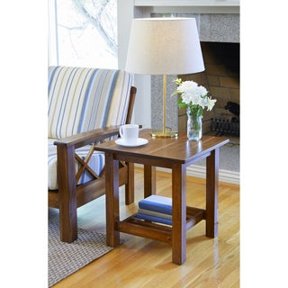Handy Living Baltimore Cherry Wood End Table with Slatted Shelf (Set of 2)