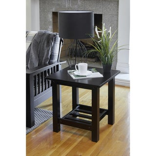 Handy Living Baltimore Espresso Brown Wood End Table with Slatted Shelf (Set of 2)