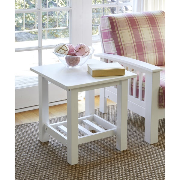 Handy Living Baltimore White Wood End Table with Slatted Shelf (Set of 2)