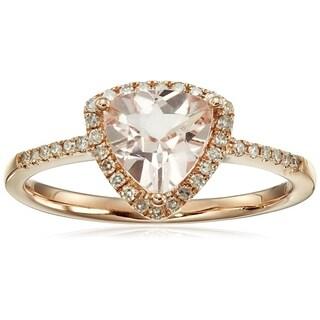 14k Rose Gold Morganite & Diamond Trillion Ring, Size 7 - Pink