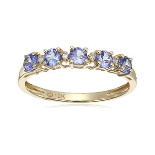 Pinctore 10k Tanzanite and Diamond-Accented Stackable Ring - Blue